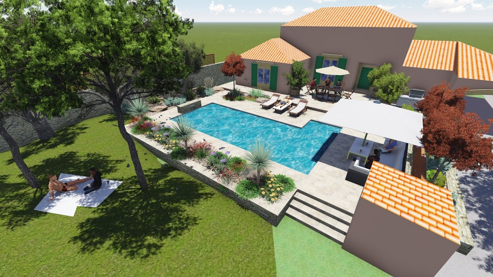 maquette maison jardin piscine